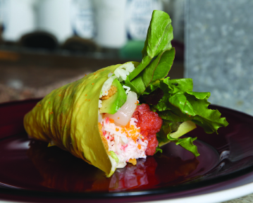 The restaurant's famous Sexy Handroll includes spicy tuna and scallops.