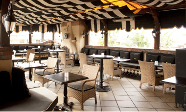 The Shebeen Lounge patio deck at Mozambique reflects the restaurant's global style.