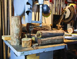 Wood and tools used by Sullenger to transform branches into art. Photo by Jody Tiongco.