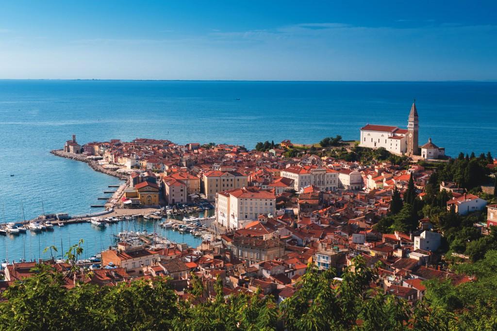 The historic port city of Piran on the Adriatic Sea reflects Slovenia's Mediterranean influence.