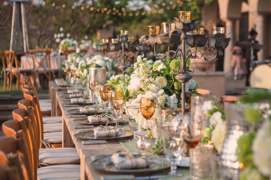 Heather Murphy of Storied Rentals recommends neutral bases with pops of color for an elegant table setting.