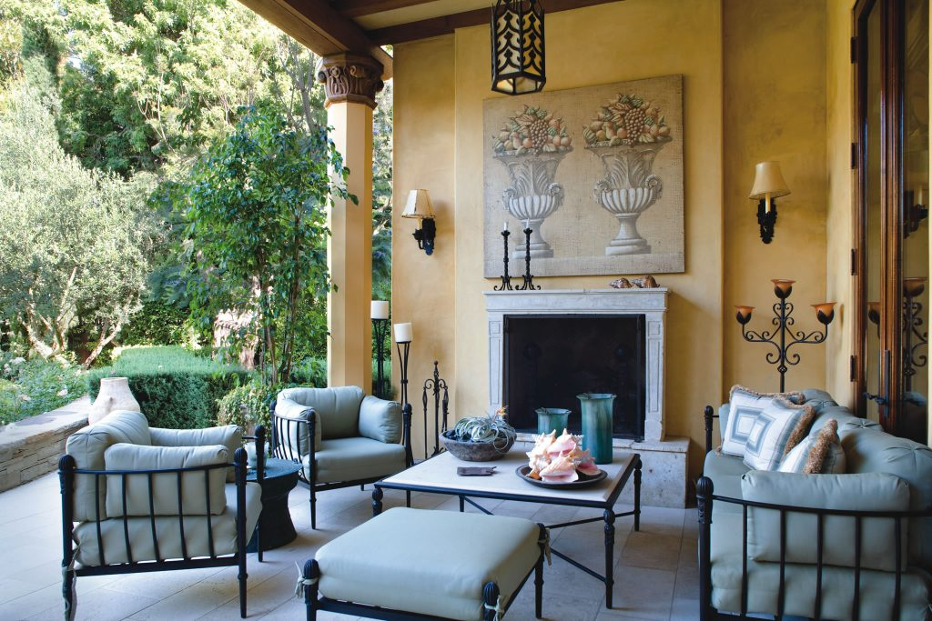 Outdoor lighting can be both functional and stylish, as seen in this patio area designed by Sheldon Harte.
