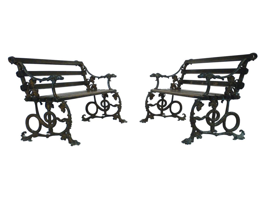 Create regal garden seating anywhere with the antique serpent-and-grape-pattern cast iron garden benches with teak-slatted seats and backs, price upon request, at Trove Gallery, Laguna Beach. (949-376-4640; trovegallery.com)