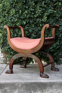Charles X mahogany bench, $975, at Nicholsons Antiques, Laguna Beach (949-494-4820; nicholsonsantiques.com)