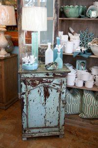 Reclaimed wood wall cabinet in aqua, $595, at Cottage Furnishings, Laguna Beach (949-497-3121; cottagefurnishings.com)