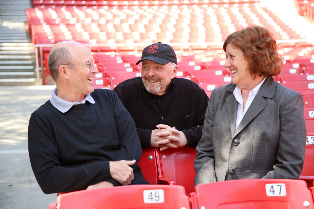 From left to right, Pageant of the Masters scriptwriter Dan Duling, narrator Richard Doyle and director Diane Challis Davy