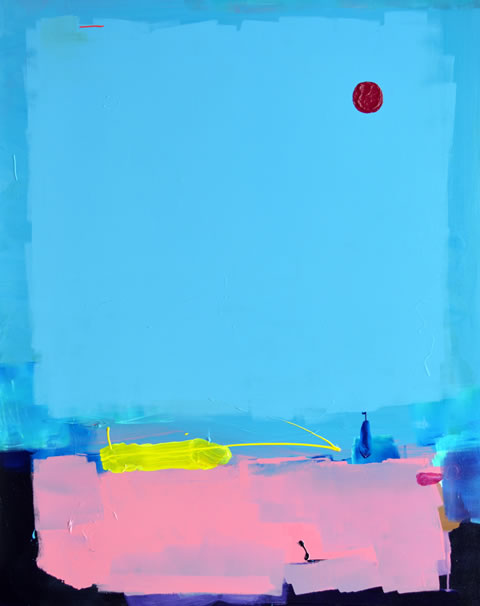 """Big Blue Sky Square Wth Dark Red Texture Circle in Top Right Hand Corner Painting""  by Anthony Hunter"