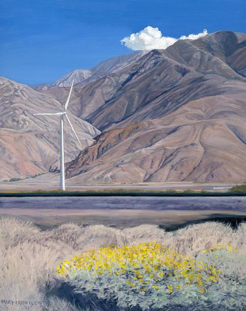 """Encelia and Wind Turbine, San Gorgonio Pass"" by Mary-Austin Klein"