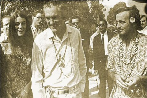 Left to right: Rosemary and Timothy Leary with Brotherhood leader John Griggs, circa 1968 | Photo courtesy of Dion Wright