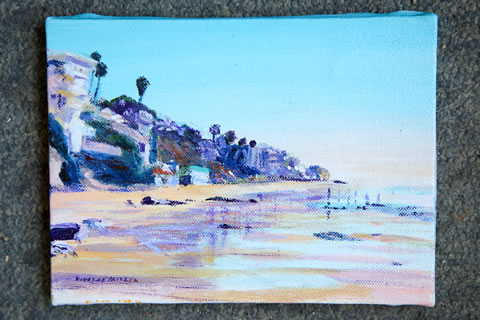 The beach scenes in his paintings reflect Doug's passion for Laguna.