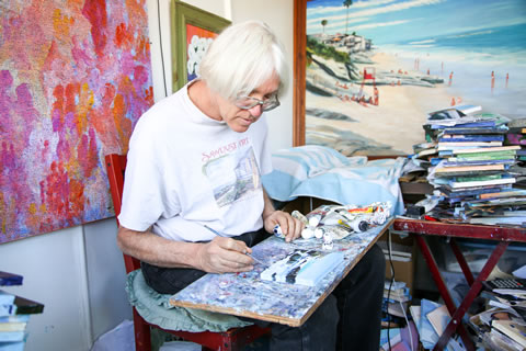 Doug focuses on small-scale canvases, which are popular among customers at Sawdust each year.