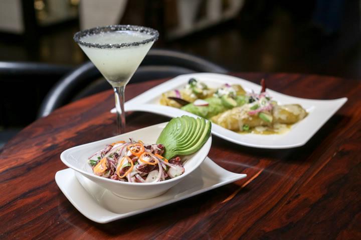 Clockwise from top left: Diamante Negro martini, ceviche and the trio of enchiladas del mar