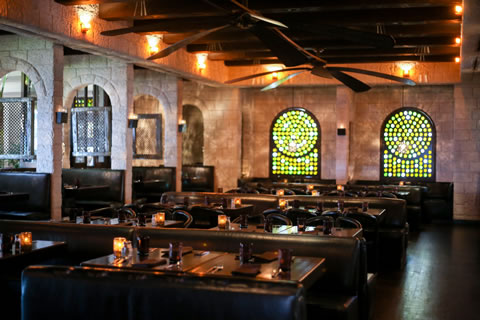 Mosaic windows add to the ambience at Javier's.
