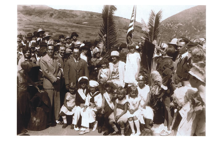 A dedication ceremony attended by movie stars Douglas Fairbanks (standing at left) and Mary Pickford (sitting in center) took place Oct. 9, 1926, for a local section of Coast Highway. | Courtesy of Laguna Beach Historical Society